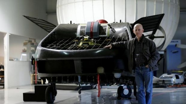 Rafi Yoeli, founder and CEO of Urban Aeronautics, stands next to a prototype of the Cormorant, a drone, at the company's ...