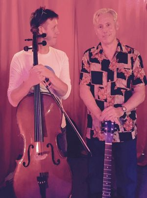 On tour: Kirk Brandon and cellist Sam Sansbury.