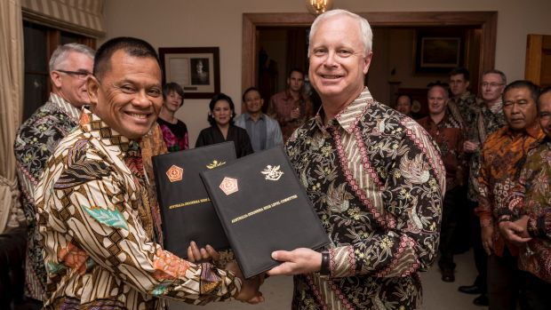 Happier times: General Gatot Nurmantyo and Australian Defence chief Air Marshal Mark Binskin after signing a statement ...