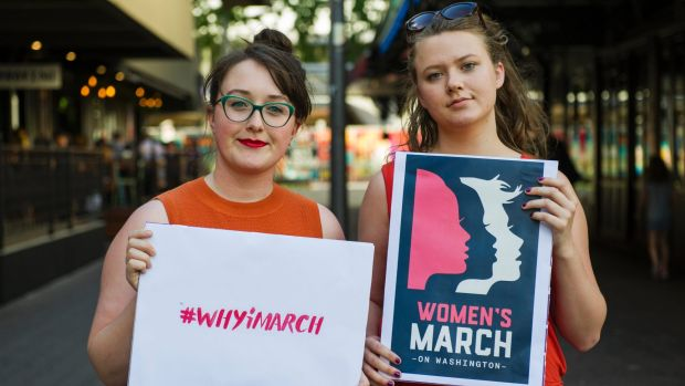 Coordinators of Women's March Canberra, Codie Bell and Lizzy O'Shea.