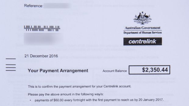 A Centrelink debt recovery notice received in December.