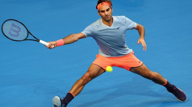 Roger Federer in his second comeback match following a six-month break with a knee injury.