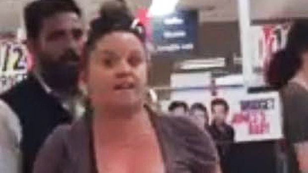 The woman became aggressive while shopping at a Coles supermarket in Melton.