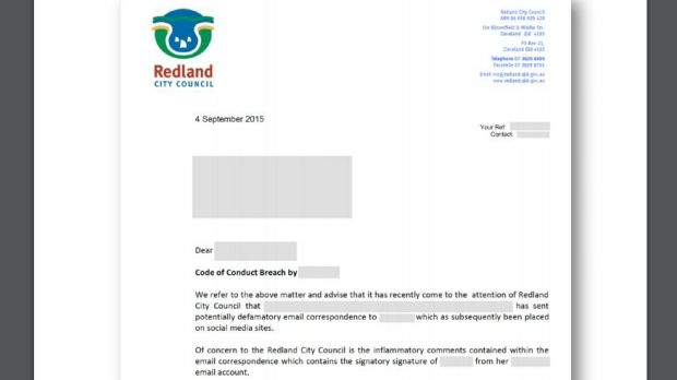 The letter sent to Complainant B's employer, the University of Queensland, by Redland City Council.