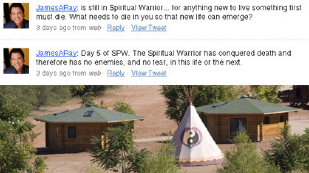"Top, James Arthur Ray's deleted tweets and, bottom, investigators look over the ""sweat lodge"" in Arizona."