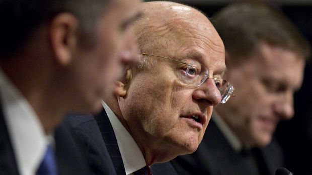 James Clapper, director of National Intelligence, centre.