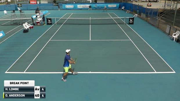 Oliver Anderson serves at break point of the allegedly fixed match.
