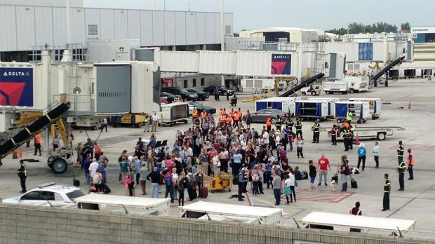 Hundreds of people were evacuated to the tarmac amid the shooting at Fort Lauderdale.