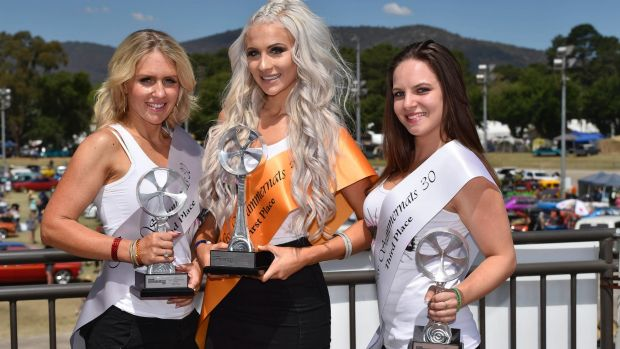 Miss Summernats 2017 Jazmyne Wardell, centre, with Sandra Horne and Kali Shaw.