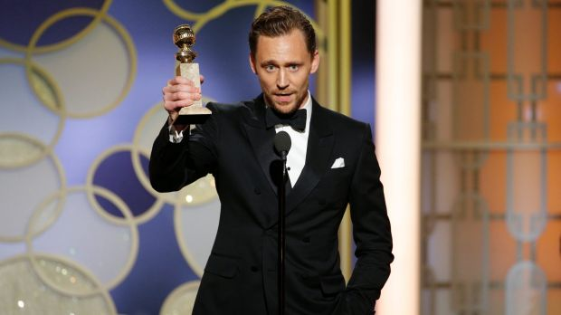 Tom Hiddleston with the award for best actor in a limited series or TV movie for <i>The Night Manager</i> at the 2017 ...