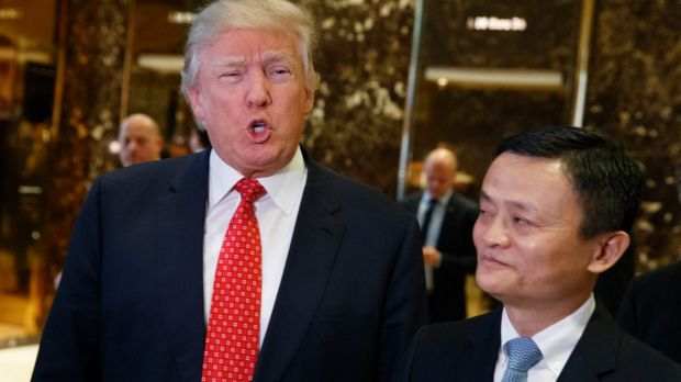 President-elect Donald Trump, accompanied by Alibaba executive chairman Jack Ma, speaks with reporters after a meeting ...