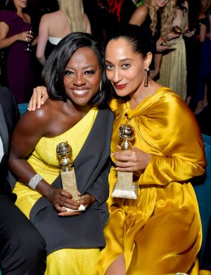 Viola Davis and Tracee Ellis Ross at the InStyle and Warner Bros party.
