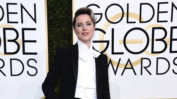 Evan Rachel Wood arrives in a suit to the 74th annual Golden Globe Awards