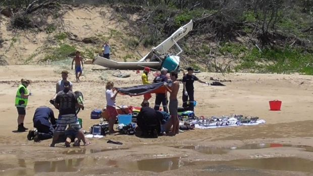 A woman died after tourist plane crashed on Middle Island near Agnes Water on Tuesday morning.