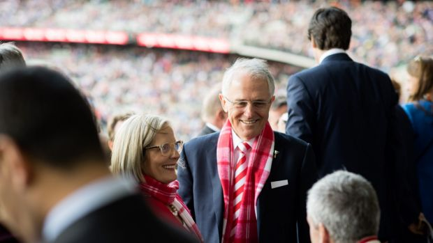 Prime Minister Malcolm Turnbull and Lucy Turnbull attend the 2016 AFL Grand Final at the MCG.