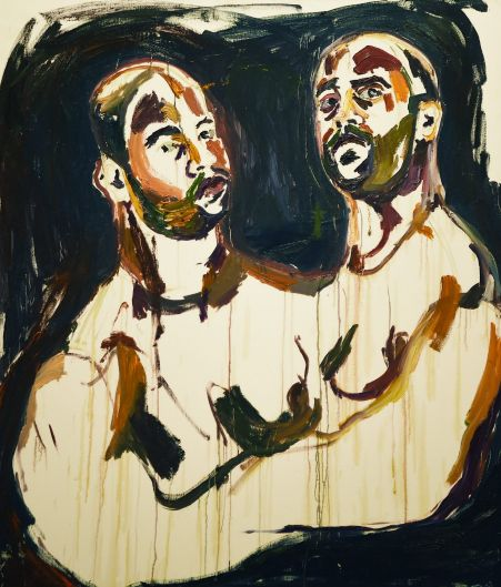 Myuran Sukumaran's self portrait 'untitled (Double Self-Portrait, Embracing' - part of 'Another Day In Paradise' exhibition.