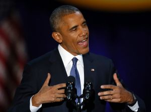 President Barack Obama speaks at McCormick Place in Chicago on  January 10,  giving his presidential farewell address.