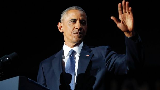 President Barack Obama waves as he speaks during his farewell address at McCormick Place in Chicago.