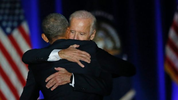 President Barack Obama hugs Vice-President Joe Biden after giving his presidential farewell address.