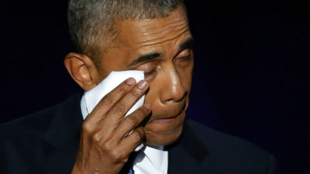 Barack Obama wipes away tears as he speaks at McCormick Place in Chicago.