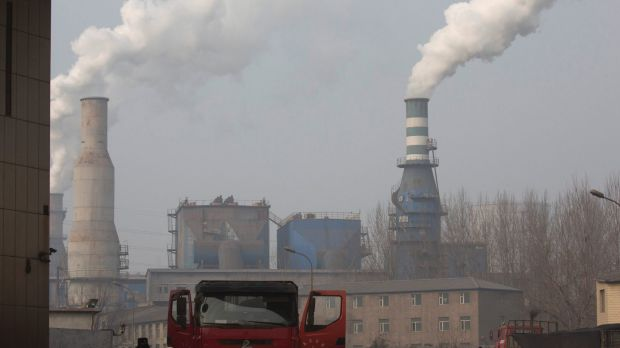 A truck leaves the Jiujiang steel and rolling mills in Qianan in northern China's Hebei province.