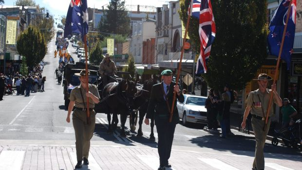 The ANZAC Day march in Katoomba in 2016.