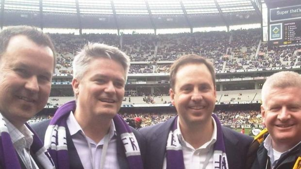David Bushby, Mathias Cormann, Steve Ciobo and Mitch Fifield at the 2013 grand final.