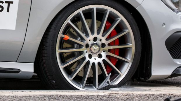 Car companies have warned that fakes parts, such as this counterfeit wheel on a Mercedes, are putting lives at risk.