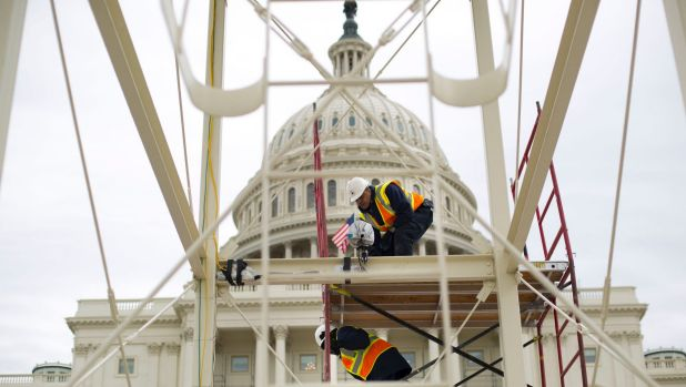 The inauguration platform is prepared on the Capitol steps in Washington.