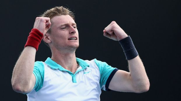Blake Mott celebrates after beating Ireland's James McGee to clinch a place in the Australian Open main draw.