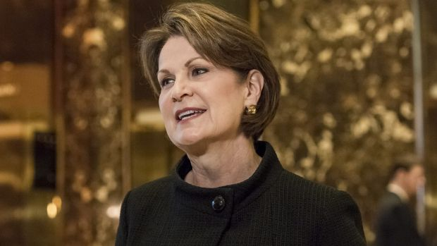 Marillyn Hewson, president and chief executive officer of Lockheed Martin, in the lobby of Trump Tower in New York,prior ...