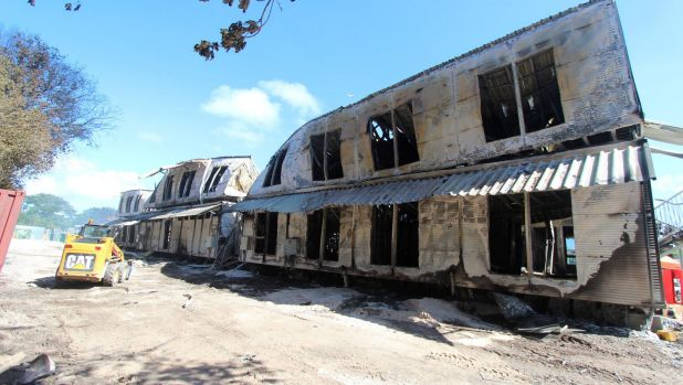 Accommodation buildings at the Nauru detention centre on 20 July, 2013, after the rioting and fires that destroyed much ...