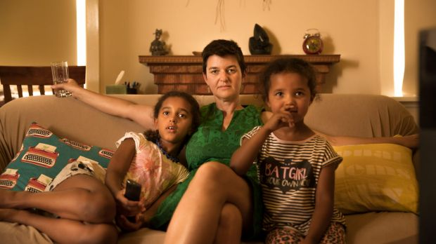 Kylie Carville with her daughters Nimu and Ciku at their Coburg home.