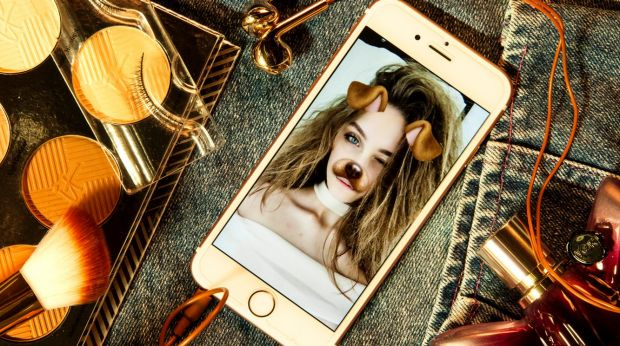 """Vali Clarke and her selfie using Snapchat's dog-face filter: """"(teenage girls') social media doesn't necessarily ..."""