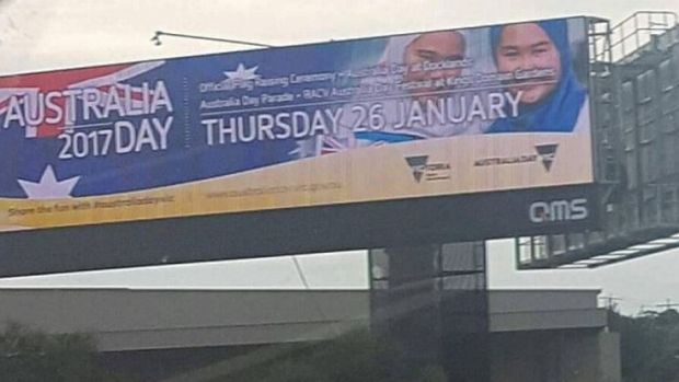 This Australia Day billboard featuring two young girls in hijab was removed after backlash and a number of threats.