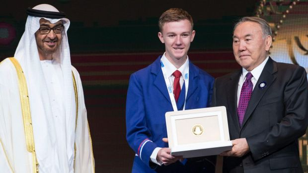 Toby Thorpe, shares the stage with Sheikh Mohamed bin Zayed Al Nahyan, Crown Prince of Abu Dhabi (left) and Nursultan ...