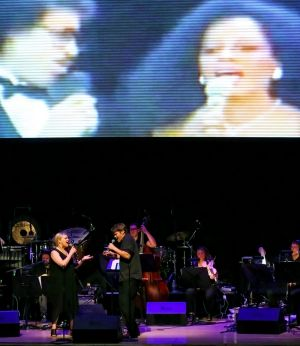 Gian Slater and Tristram Williams perform a unique version of Endless Love in Sex, Lynch and Video Games at Sydney Festival.