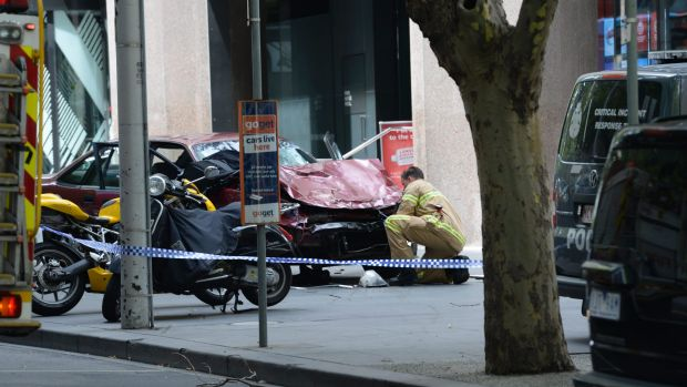 The  driver allegedly drove down Bourke Street Mall before he was shot in the arm and dragged from the car by police.