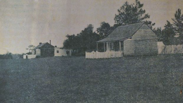 Mission Station dwellings at Lake Condah in 1914.