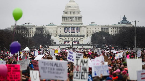 Protesters gather on the National Mall for the Women's March on Washington in January.