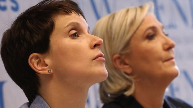 Frauke Petry (left), leader of the Alternative for Germany (AfD), and Marine Le Pen, leader of the French Front ...