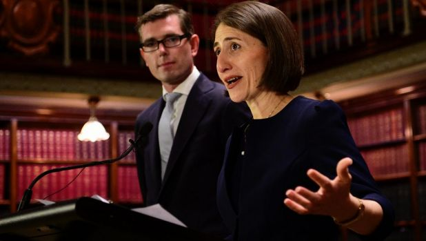 NSW Premier Gladys Berejiklian speaks at a press conference with Treasurer Dominic Perrottet.