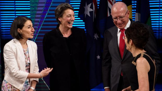 NSW Premier Gladys Berejiklian speaks with Professor Michelle Simmons, Governor David Hurley and his wife Linda after ...