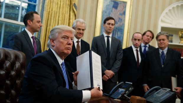 President Trump reinstates the Reagan-era ban on US aid donations to foreign health care providers that offer abortion ...