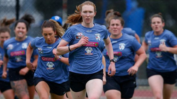 Tiarna Ernst leads the pack at Bulldogs training