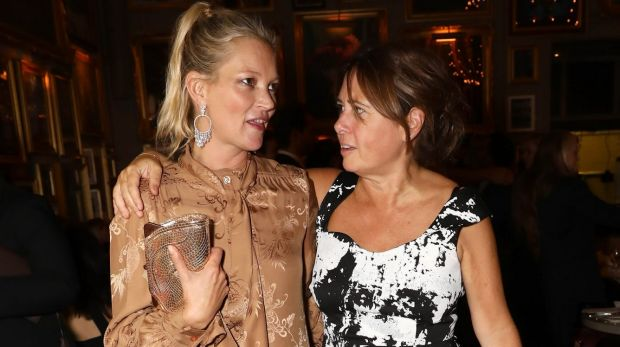 Alexandra Shulman with Kate Moss. Moss has appeared on 27 covers under Shulman's reign at Vogue.