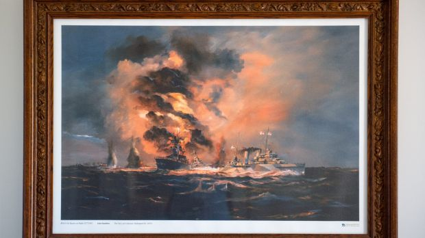 A dramatic painting of the sinking of the  HMAS Perth almost 75 years ago.