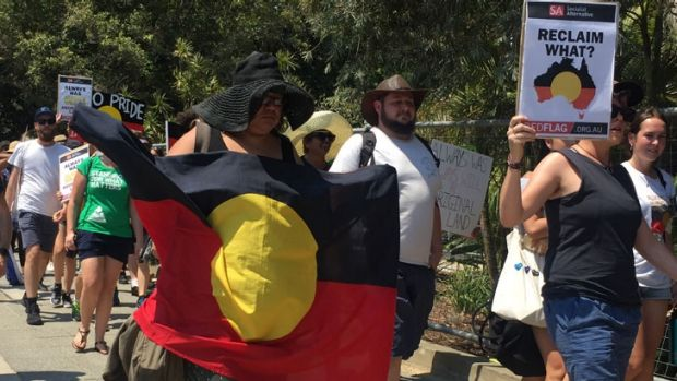 About 300 people attended the 'Invasion Day' rally.