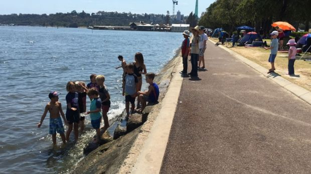 People flocked to the Perth foreshore to celebrate Australia Day before the crash.