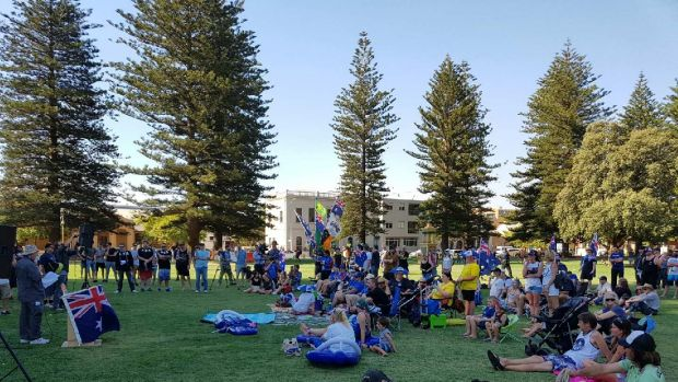 A handful of protesters found their way to Esplanade Park to protest Fremantle's decision to cancel the fireworks.